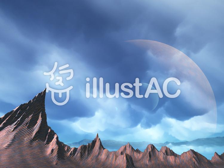 幻想的なファンタジーな景観(紋山脈)のイラスト
