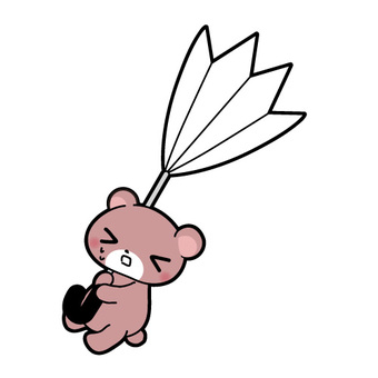 Illustration of the bear when the umbrella is stretched