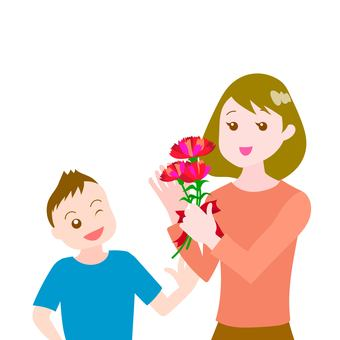 Mother and son Mother's Day Carnation