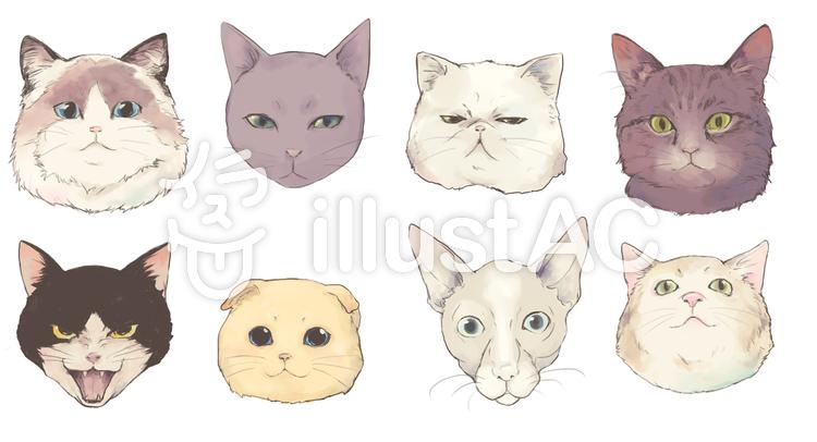 猫の顔詰め合わせ いろどりイラスト No 777993 無料イラストなら