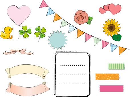 Hand-drawn style material set