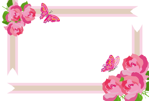 Rose and butterfly's pink frame