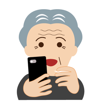 Grandpa who operates a smartphone