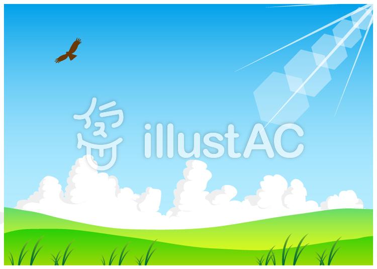 背景素材 野原と空と鳥の風景イラスト No 805627無料イラストなら