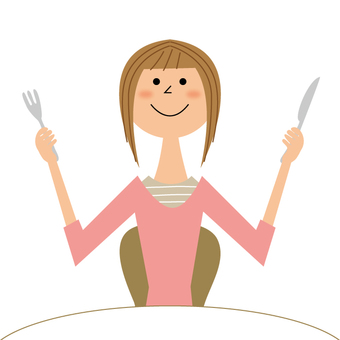 A woman with a knife and a fork