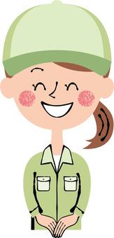 Smile green worker front female upper body