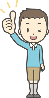 男の子ブルー長袖-053-全身