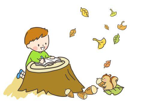 가을 다람쥐 그림을 그리는 소년