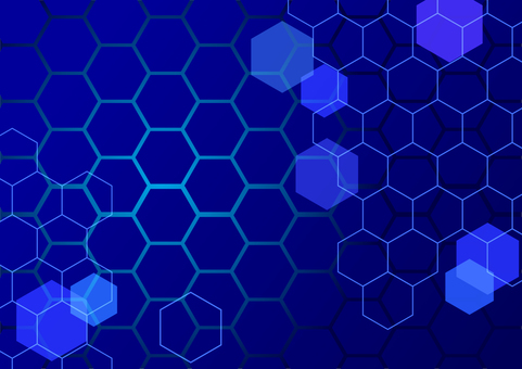 Blue network abstract hexagon background material