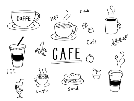 Cafe hand-drawn wind illustration
