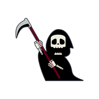 Illustration of cute grim reaper attacking