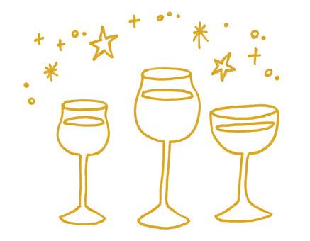 와인 잔 선화 골드
