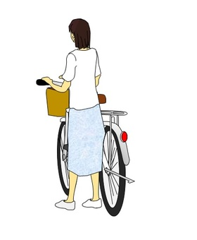 Woman pushing a bicycle From the rear