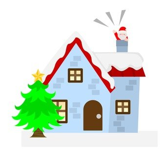 Santa and house