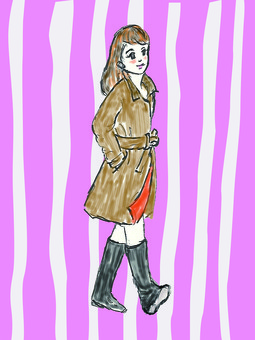 A woman in a raincoat