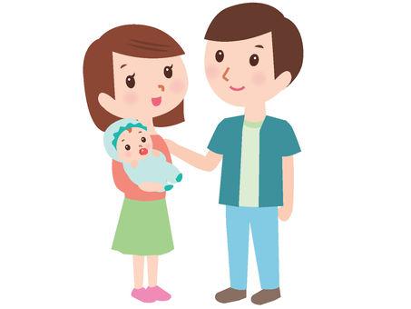 젊은 부부와 아기