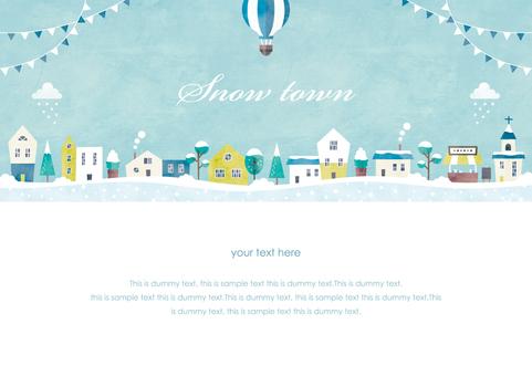 冬季背景框架037雪城市景觀水彩