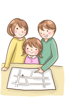 Families confirming disaster prevention map