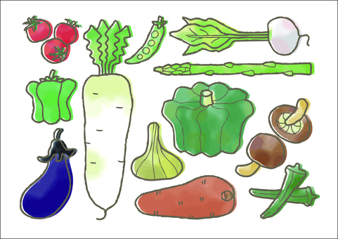 Vegetable hand-painted color assortment
