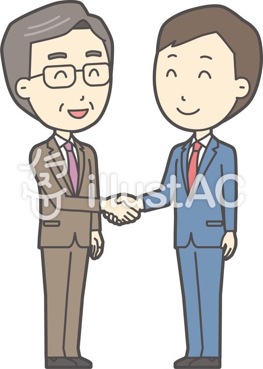 青年スーツ青と握手-010-全身のイラスト