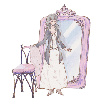 A female pink version in front of a mirror.