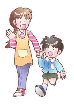 Nursery teacher and a boy