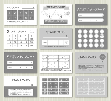 Set of stamp cards (monochrome)