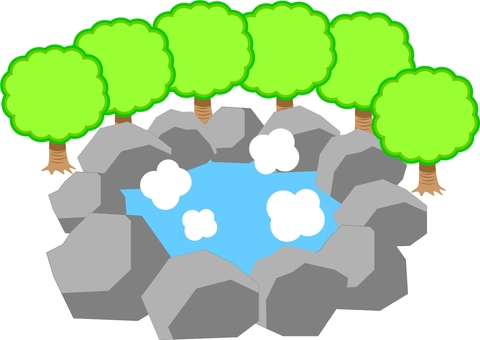 Natural hot spring surrounded by trees