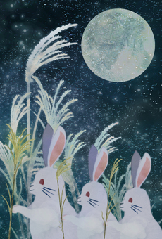 Watercolor moon view rabbit ②