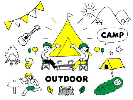 山にキャンプに来た人物セット(シンプル)