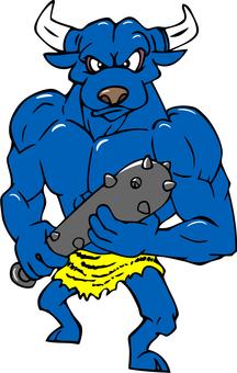 Blue demon with a club
