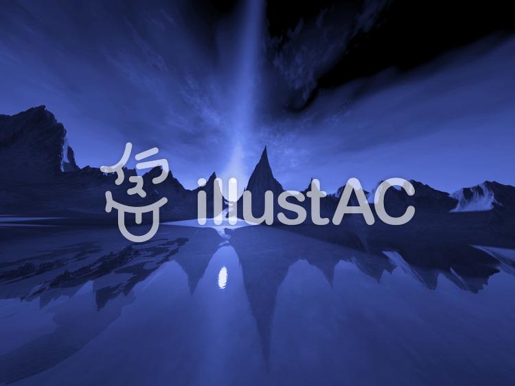 巨大山脈の青い夜のイラスト