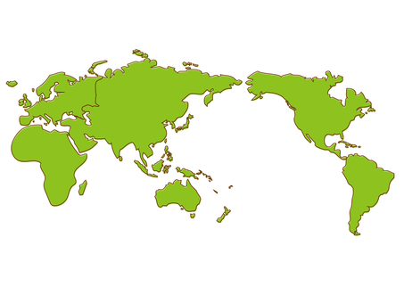 Loose world map drawn roughly