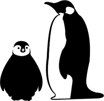 Penguin parent and child's silhouette