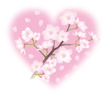 Cherry branch one point (heart)
