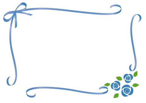 Rose and ribbon frame (blue)