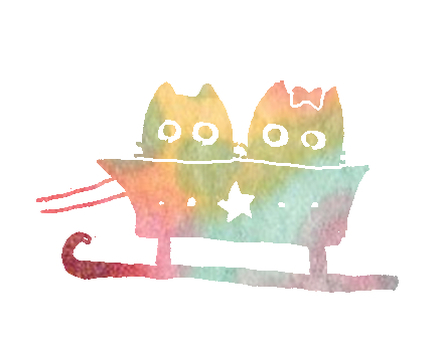 Rainbow-colored cat on a sled