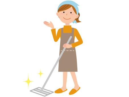 51208.女性,床掃除