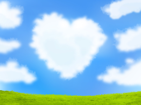 Heart-shaped clouds and blue sky and green - Vector data