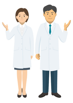Male and female pair of white clothes -1-01_ whole body