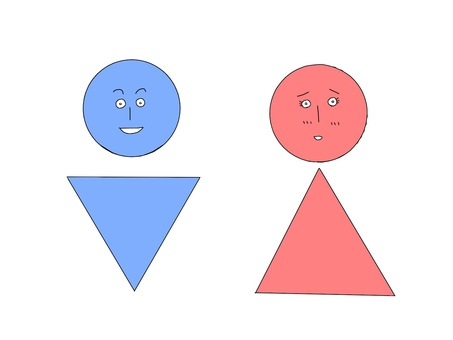 Male and female mark face