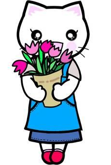 お花屋さん 猫 花 チューリップ