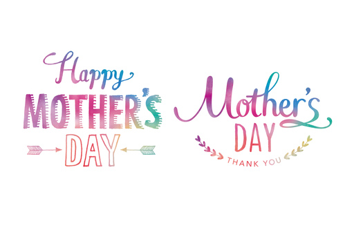 Mother's day lettering rainbow