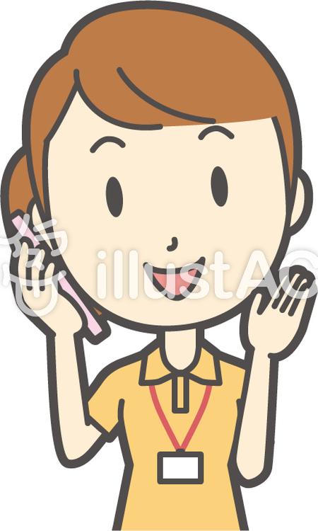 若者女性ヘルパー-072-バストのイラスト