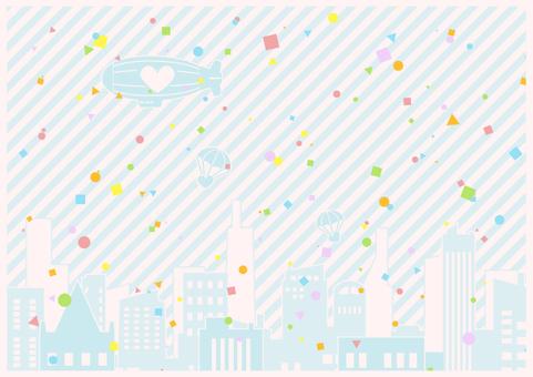 背景-ビルと空と紙吹雪2