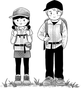 Hiking monochrome (man and woman)