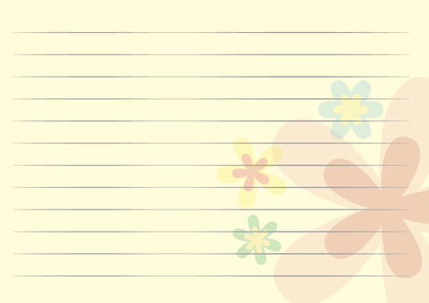 Card letter paper horizontal yellow flower