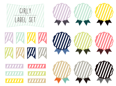 Set of girly label material (border)