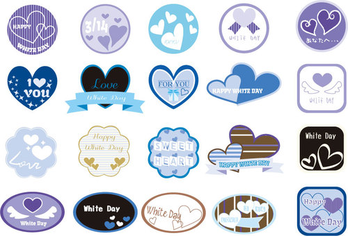 Various heart label style