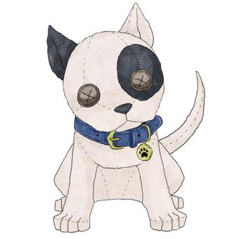 Dog (bull terrier) animal stuffed toy illustration